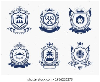 Vintage vector design elements. Retro style labels, heraldry. Coat of Arms collection, vector set.