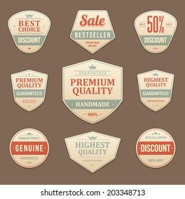 Vintage vector design elements. Retro style sale typographic labels,  tags, badges, stamps, arrows and emblems set.