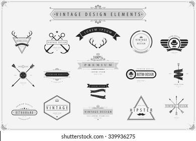 Vintage vector design elements, Retro style labels.