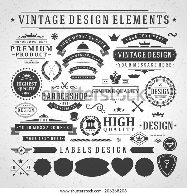 Vintage vector design elements. Retro style golden typographic labels, tags, badges, stamps, arrows and emblems set.