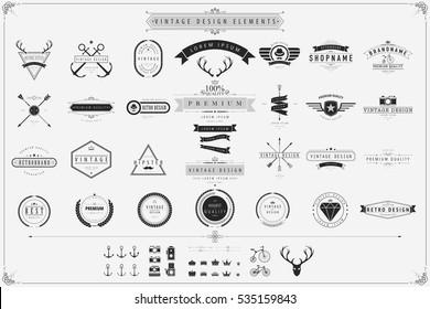 Vintage vector design elements,Retro style labels,Vintage labels and elements.