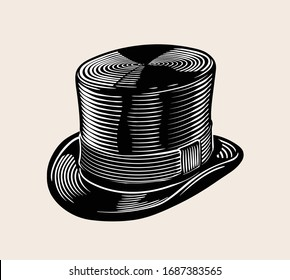 Vintage vector engraved line art illustration of classic top hat. High quality Black and white isolated drawing.