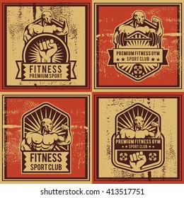 Vintage vector fitness and gym badge. Bodybuilder classic logo and propaganda poster composition. Badge logo, emblem, label. Vintage design. Vector illustration