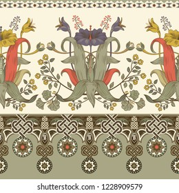Vintage vector floral border. Seamless pattern, victorian style. Vintage floral  illustration for web, textile, fabric, wrapping paper