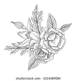 vintage vector floral composition with flowers, buds and leaves of roses and lily, imitation of engraving, hand drawn design element
