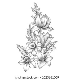 vintage vector floral composition with flowers and leaves, imitation of engraving, hand drawn design element