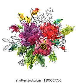 vintage vector floral composition with flowers, buds and leaves of roses and poppy and watercolor paint stains, hand drawn design element