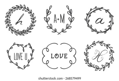 Vintage Vector Floral Wreath Logo Template Set