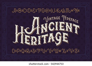 Vintage vector font. Elegant royal typeface in medieval ancient style.