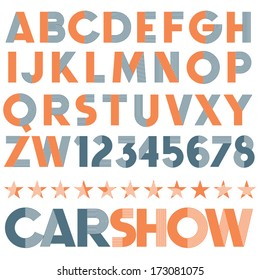 Vintage vector font. Retro type.