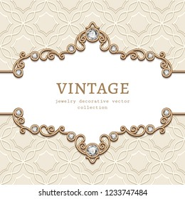Vintage vector frame with diamond jewellery border pattern, elegant vignette, jewelry gold flourish decoration for wedding invitation card or announcement design with place for text