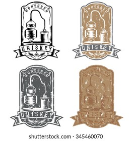 vintage vector grunge labels of whiskey with home alcohol machine