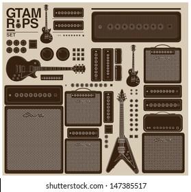vintage vector guitar set and amplifier