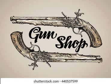 Vintage vector gun. Hand-drawn sketch antique musket