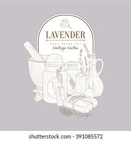 Vintage Vector Hand Drawn Design Card With Lavander Health Products Set