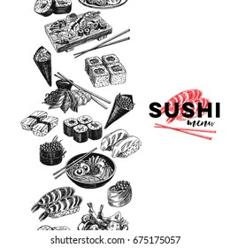 Vintage vector hand drawn Japanese food sketch Illustration.. Retro style Seamless border. repeating background. Sushi bar menu.