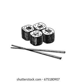 Vintage vector hand drawn Japanese food sketch Illustration. Retro style. Sushi bar.