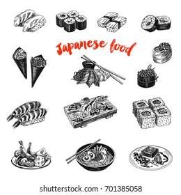 Vintage vector hand drawn Japanese food sketch Illustrations set. Retro style. Sushi bar menu.
