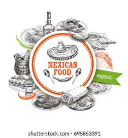 Vintage vector hand drawn mexican food sketch Illustration. Retro style menu template design.