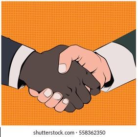 Vintage Vector Handshake Silhouette in a pop art stile suggesting equality between races.