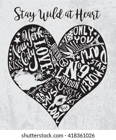 Vintage Vector Heart for t-shirt apparel, print, poster