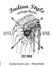 Vintage vector illustration - American Indian chief headdress. Boho style