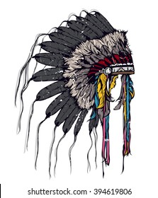 Vintage vector illustration - American Indian chief headdress. Boho style