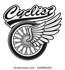 Vintage vector illustration of a bicycle wheel with wing on white background
