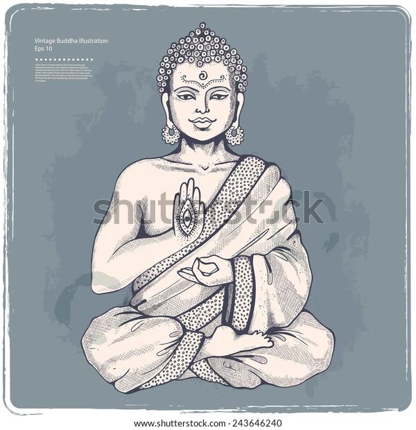 Vintage vector illustration with Buddha in meditation