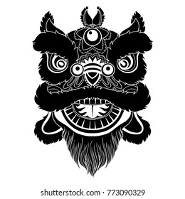 Vintage Vector illustration of Chinese lion head dance. Happy Chinese New Year!