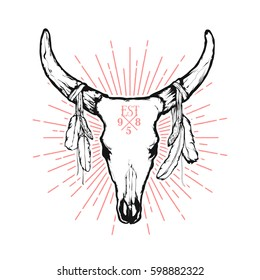 Vintage vector illustration - Cow skull with feathers. Native American totem