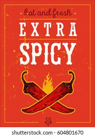 Vintage Vector illustration - Extra Spicy Poster