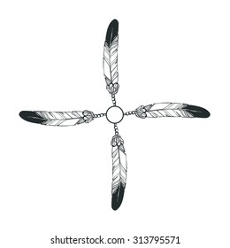 Vintage vector illustration - Hand drawn circle aztec style feathers