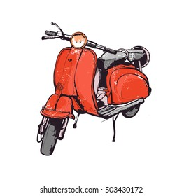 Vintage vector illustration, hand graphics - Old red scooter
