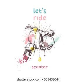 Vintage vector illustration, hand graphics - Old scooter with color splash
