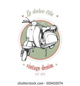 Vintage vector illustration, hand graphics - Old scooter emblem