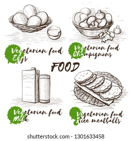 Vintage vector illustration for healthy lifestyle design. Vegetarian food sketch. Cooking food background. Restaurant menu. Eggs, milk, champignons and rice meatballs.