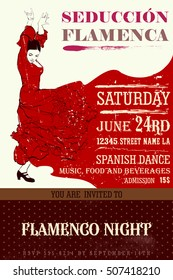 Vintage vector illustration - Invitation to flamenco night