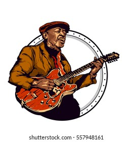 Vintage vector illustration - old bluesman is playing on guitar