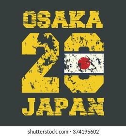 Vintage vector illustration on the theme of Japan, Osaka. Japanese flag. Grunge background. Sport typography, t-shirt graphics, poster, banner, flyer and postcard
