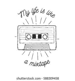 Vintage vector illustration - retro audio cassette mixtape emblem
