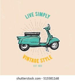Vintage vector illustration - Retro scooter emblem