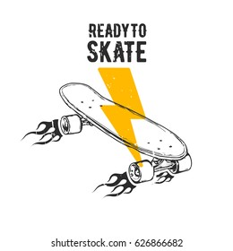 "Vintage vector illustration - Skateboarding t-shirt design with lettering ""Ready To Skate"""