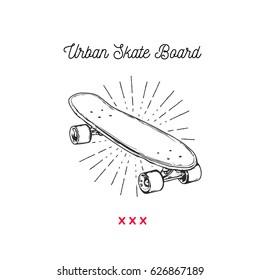 Vintage vector illustration - Skateboarding t-shirt design. Urban Skateboard