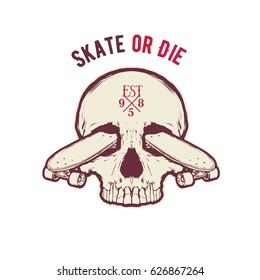 Vintage vector illustration - Skateboarding t-shirt design with the skull