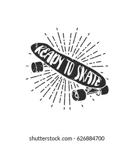 "Vintage vector illustration - Skateboarding t-shirt design with lettering ""Ready To Skate"""