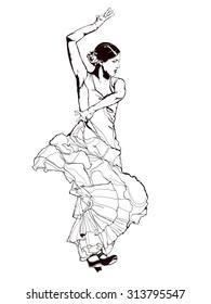 Vintage vector illustration - Spanish girl dances a flamenco