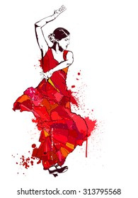 Vintage vector illustration - Spanish girl in red dress dances a flamenco