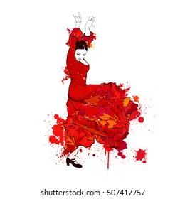 Vintage vector illustration - Spanish girl dances a flamenco and color spots