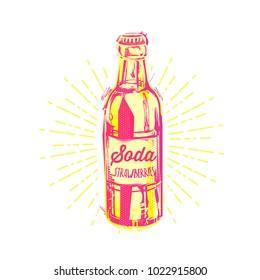Vintage vector illustration - summer drink. Retro emblem of soda bottle